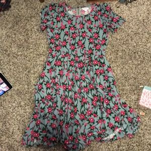 Pink green and gray flower dress!!